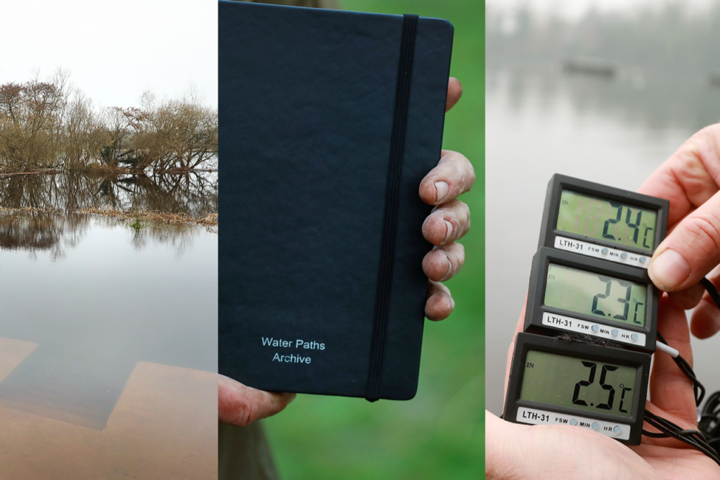 Hands holding notebook and metre reading